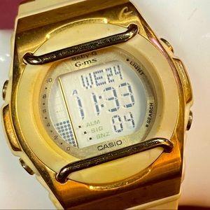 Vintage Casio G-MS baby G gold watch